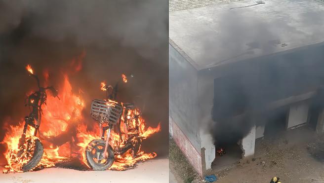 """电动车着火多么可怕:3分钟被烧成""""骨架"""",毒烟吞噬整栋民宅"""