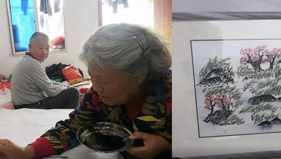 农民奶奶患癌坚持画画梦想开画展,老伴静静陪伴:想画就画